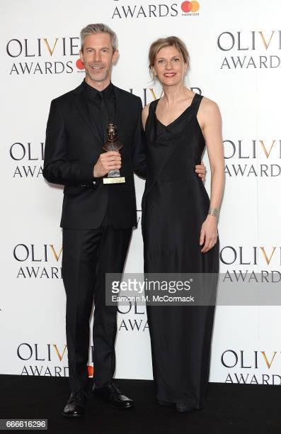 Crystal Pite and Jonathon Young with the award for Best New Dance Production for Betroffenheit poses in the winners room at The Olivier Awards 2017...