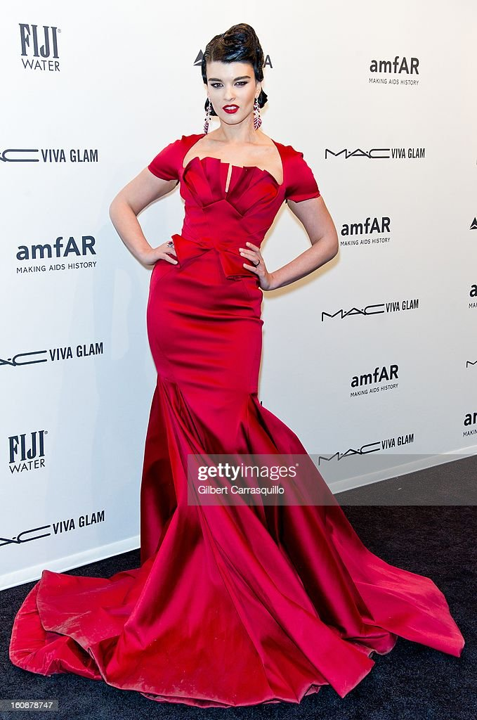 Crystal Renn attends amfAR New York Gala To Kick Off Fall 2013 Fashion Week at Cipriani, Wall Street on February 6, 2013 in New York City.