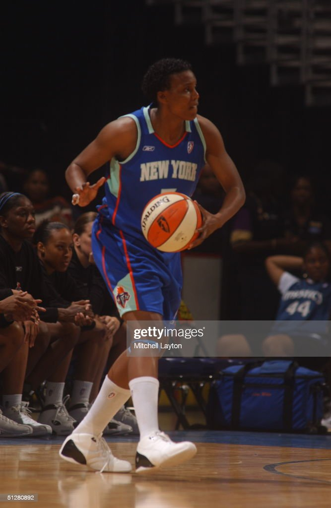 Crystal Robinson of the New York Liberty controls the ball against the Washington Mystics at the MCI Center on September 9 2004 in Washington DC NOTE...