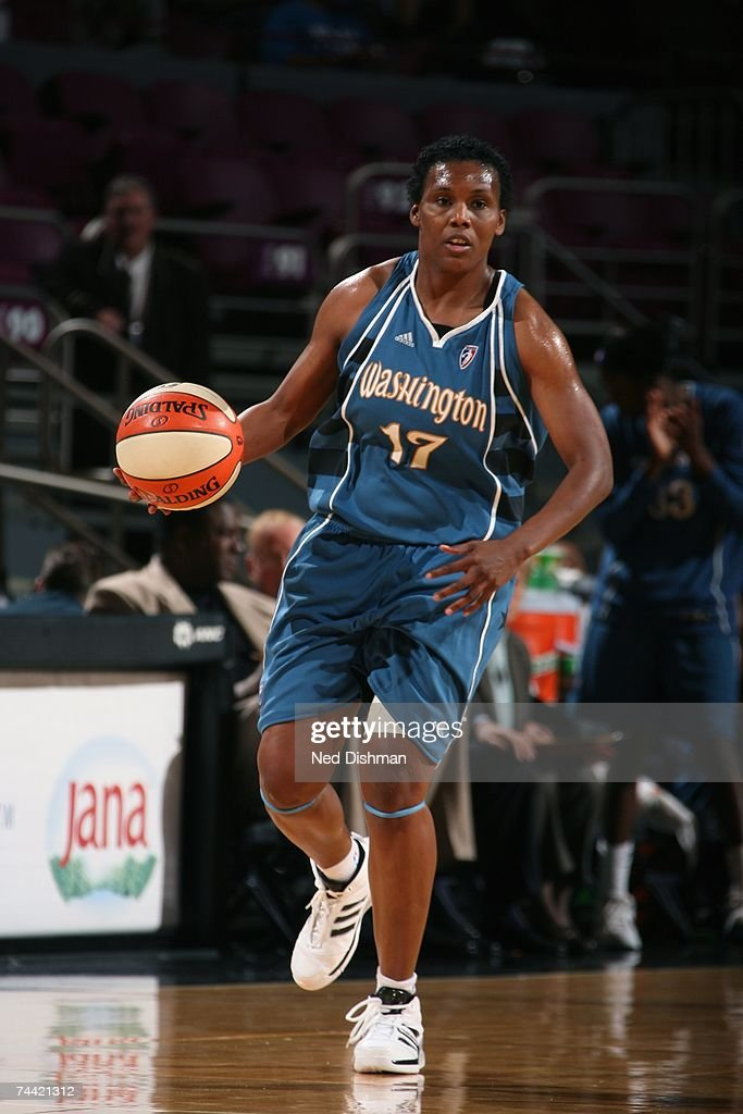 Crystal Robinson of the Washington Mystics moves the ball against the New York Liberty during the WNBA game on May 24 2007 at Madison Square Garden...