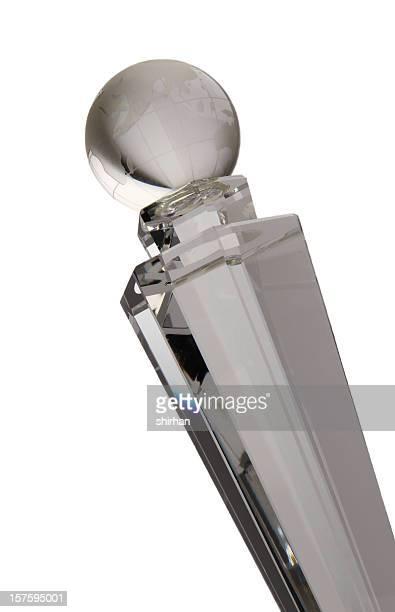 Trophée cristal avec le monde entier