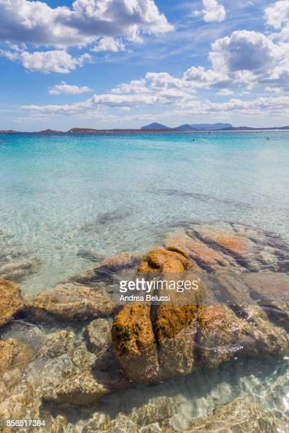 Crystal turquoise water in Capriccioli beach, Arzachena Costa Smeralda, Olbia-Tempio province, Sardinia district, Italy