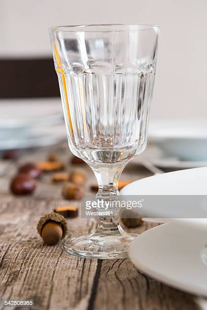Crystal wine glass on autumnal laid table