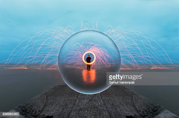 Crystall ball and steel wool spinning in Gulf of Bothnia