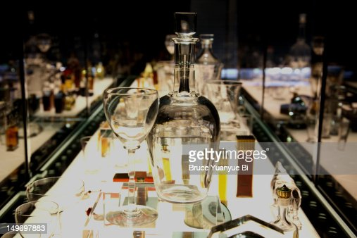 Crystals display in museum in Galerie-Musee Baccarat. : Stockfoto