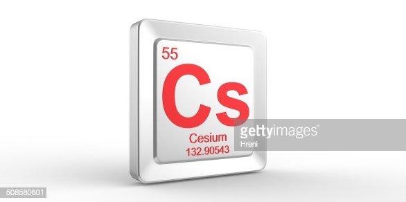 Cs symbol 55 material for Cesium chemical element : Stockfoto
