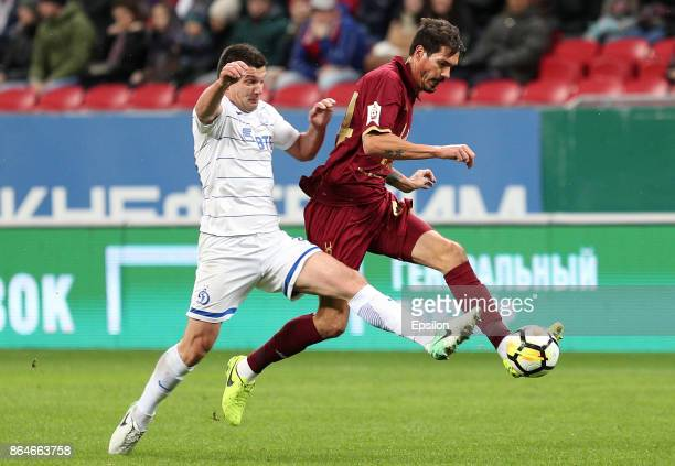 Csar Navas FC Rubin Kazan vies for the ball with Fatos Beciraj FC Dinamo Moscow during the Russian Premier League match between FC Rubin Kazan and FC...