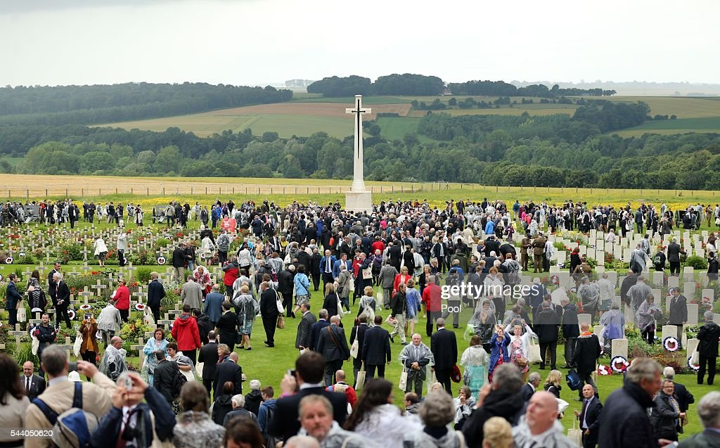 CThe Cross of Sacrifice during a service to mark the 100th anniversary of the beginning of the Battle of the Somme at the Thiepval memorial to the Missing on July 1, 2016 in Thiepval, France. The event is part of the Commemoration of the Centenary of the Battle of the Somme at the Commonwealth War Graves Commission Thiepval Memorial in Thiepval, France, where 70,000 British and Commonwealth soldiers with no known grave are commemorated.