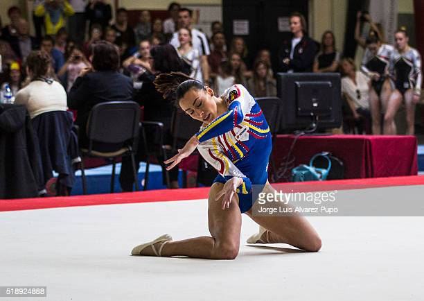 Ctlina Ponor of Romania competes in the Floor during Match International Women's Artistic Gymnastics at Complexe Sportif Site Motte in Mouscron...