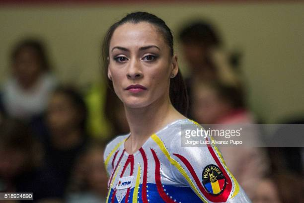 Ctlina Ponor of Romania looks on after the balance beam during Match International Women's Artistic Gymnastics at Complexe Sportif Site Motte in...