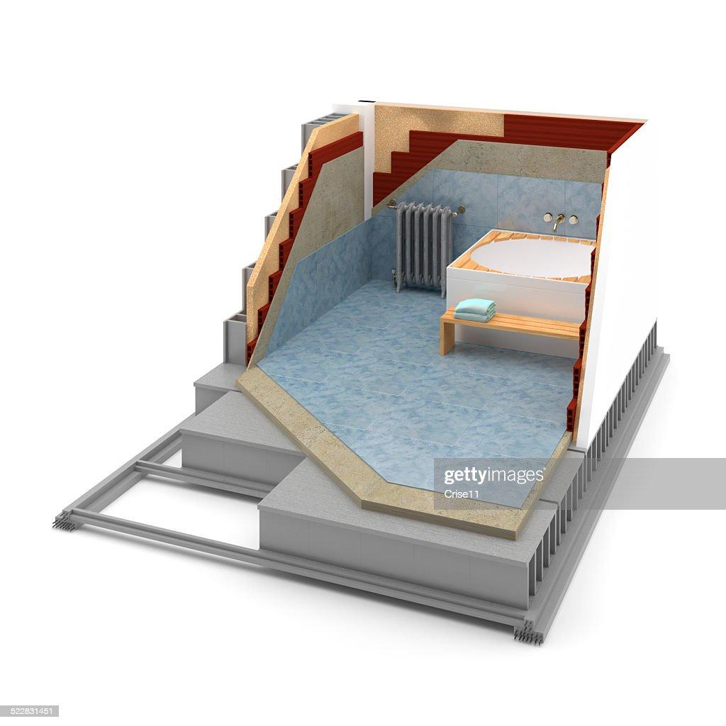 cuarto de bao calefaccin aislamiento trmico stock