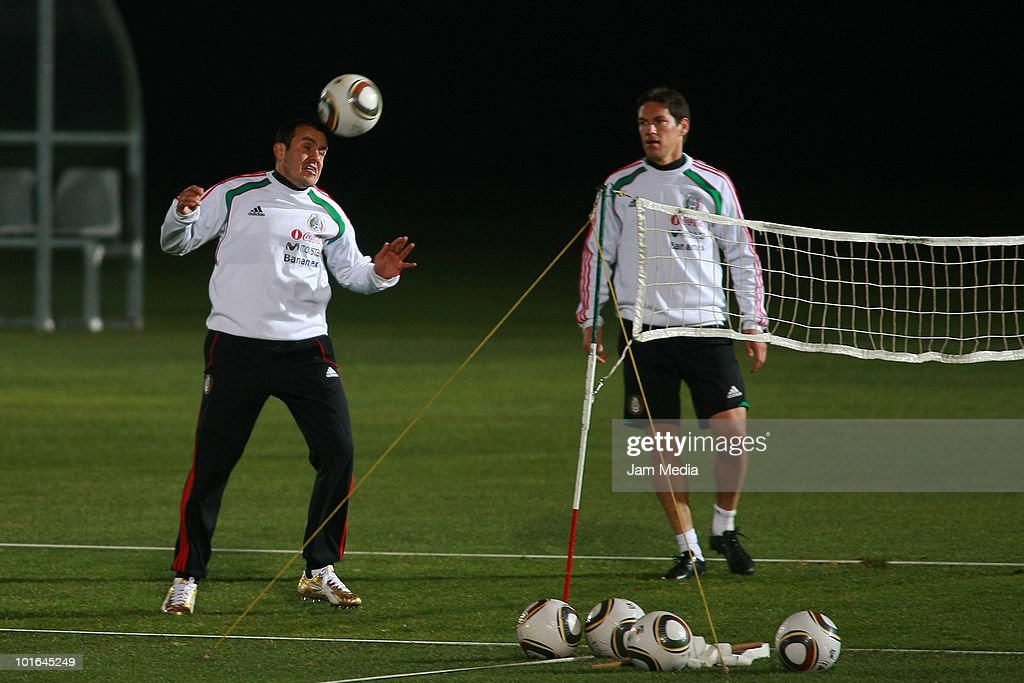 Cuauhtemoc Blanco (L) and Guillermo Franco (R) of Mexico during a training session at Waterstone College as part of their preparation for FIFA 2010 World Cup on June 5, 2010 in Johannesburg, South Africa.
