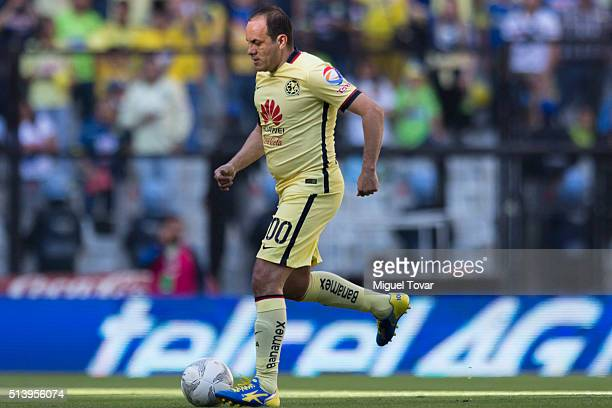 Cuauhtemoc Blanco of America drives the ball during the 9th round match between America and Morelia as part of the Clausura 2016 Liga MX at Azteca...