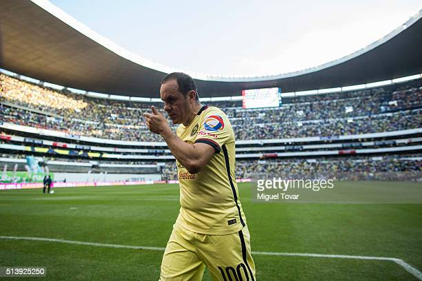 Cuauhtemoc Blanco of America leaves the field during the 9th round match between America and Morelia as part of the Clausura 2016 Liga MX at Azteca...