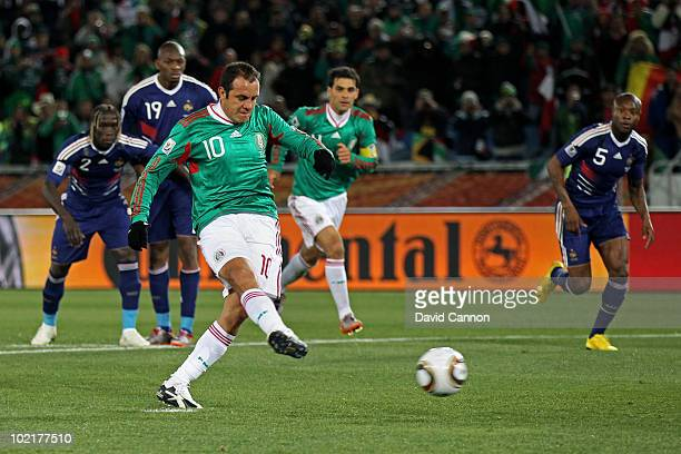Cuauhtemoc Blanco of Mexico converts a penalty for his team's second goal during the 2010 FIFA World Cup South Africa Group A match between France...