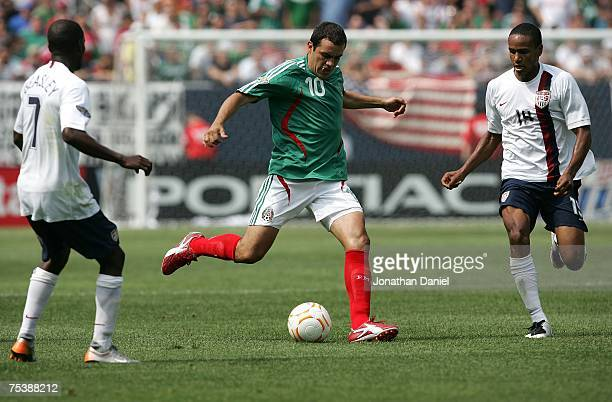 Cuauhtemoc Blanco of Mexico moves the ball against the USA during the CONCACAF Gold Cup Final match at Soldier Field on June 24 2007 in Chicago...