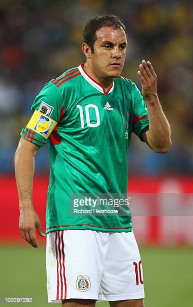 Cuauhtemoc Blanco of Mexico reacts during the 2010 FIFA World Cup South Africa Group A match between Mexico and Uruguay at the Royal Bafokeng Stadium...