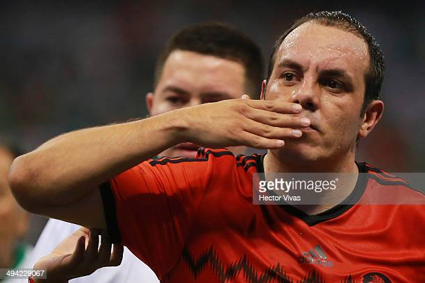 Cuauhtemoc Blanco of Mexico receives a tribute for his career as a Mexico National Team Player during a FIFA friendly match between Mexico and Israel...