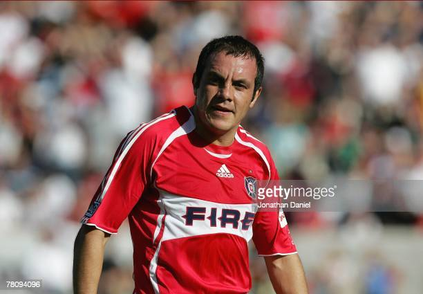 Cuauhtemoc Blanco of the Chicago Fire looks on during their MLS match against the Los Angeles Galaxy on October 21 2007 at Toyota Park in Bridgeview...