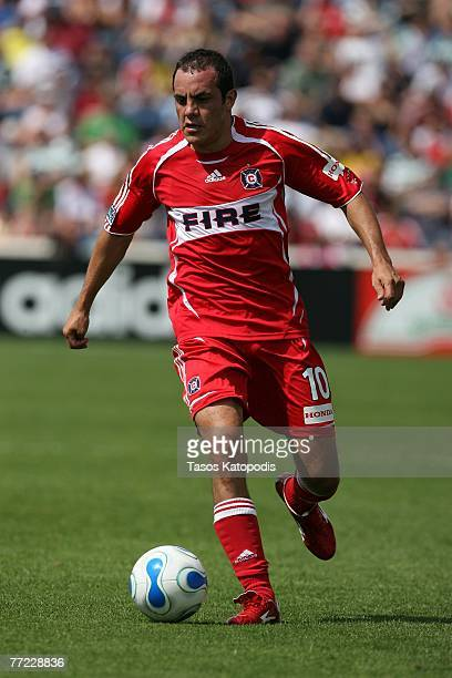 Cuauhtemoc Blanco of the Chicago Fire moves the ball up field during the first half of a soccer game against Celtic FC on July 22 2007 at Toyota Park...
