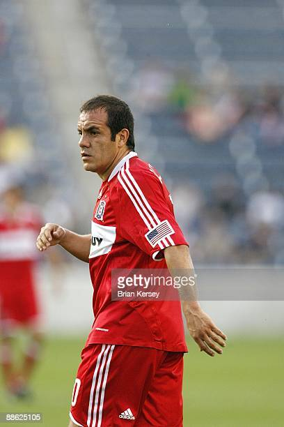 Cuauhtemoc Blanco of the Chicago Fire stands on the field against Real San Luis FC during the SuperLiga 2009 soccer tournament at Toyota Park on June...