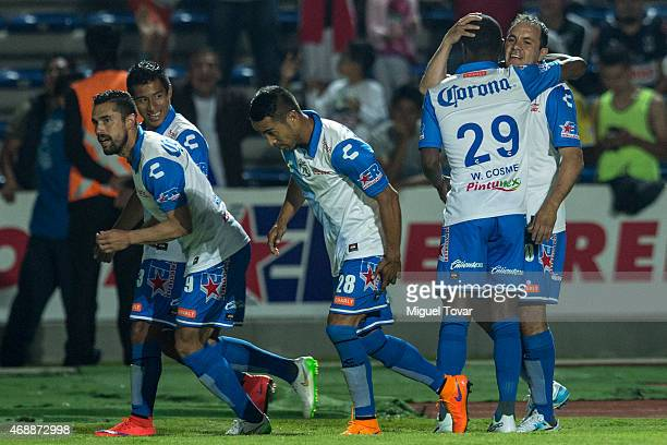 Cuauhtémoc Blanco of Puebla celebrates after scoring the third goal of his team during a semifinal match between Puebla and Monterrey as part of...