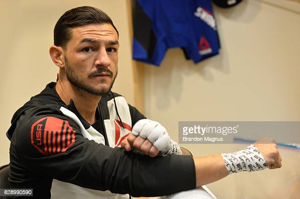 Cub Swanson gets his hands wrapped backstage during the UFC 206 event inside the Air Canada Centre on December 10 2016 in Toronto Ontario Canada
