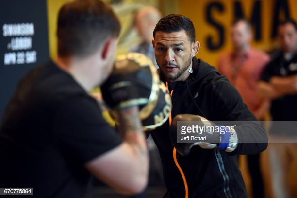 Cub Swanson holds an open workout for fans and media at the Bridgestone Arena Atrium on April 20 2017 in Nashville Tennessee