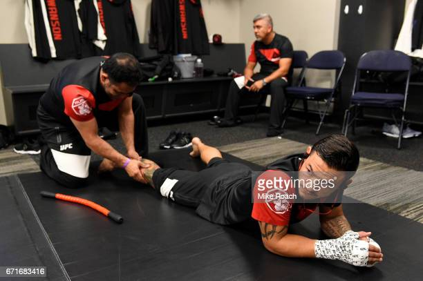 Cub Swanson warms up prior to his bout against Artem Lobov during the UFC Fight Night event at Bridgestone Arena on April 22 2017 in Nashville...