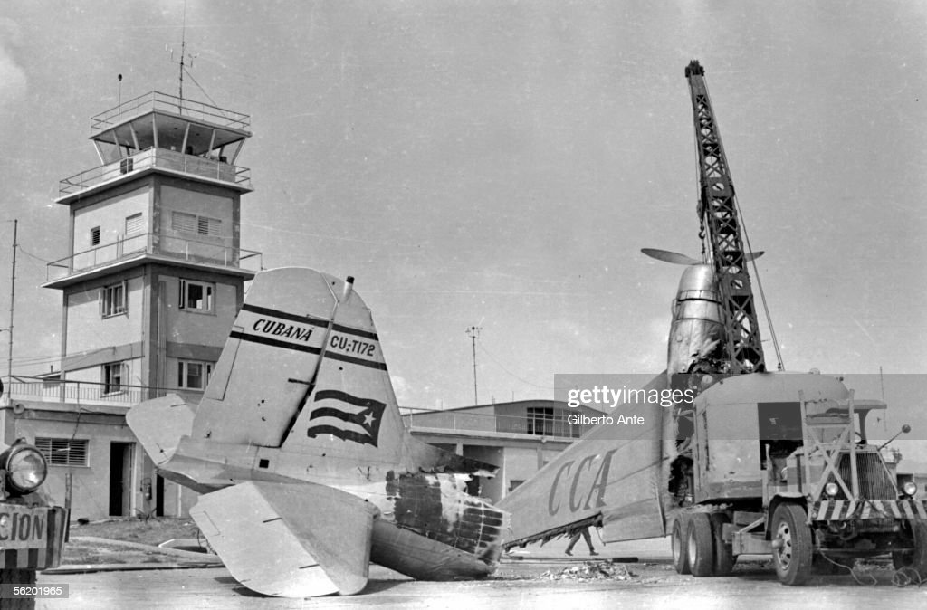 Cuba Bombing of the airport of Santiago of Cuba by mercenaries the day before the expedition of the Bay of Pigs attempt of landing encouraged by the...