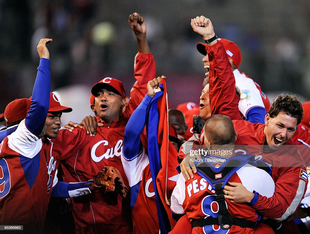 Cuba celebrates a 5-4 win over Australia during the 2009 World Baseball Classic Pool B match on March 10, 2009 at the Estadio Foro Sol in Mexico City, Mexico.