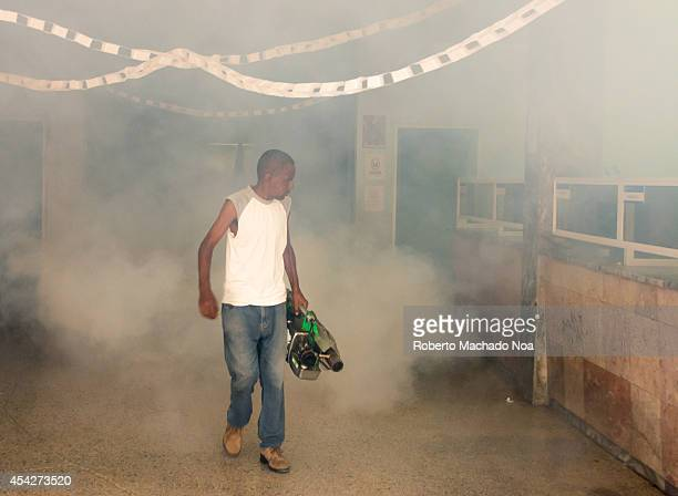 Cuba fights the Aedes aegypti by fumigating frecuently in homes and business the country is suffering Dengue and Chikungunya virus