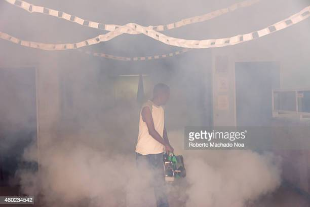 Cuba fights the Aedes aegypti by fumigating frequently in homes and business the country is suffering Dengue and Chikungunya virus