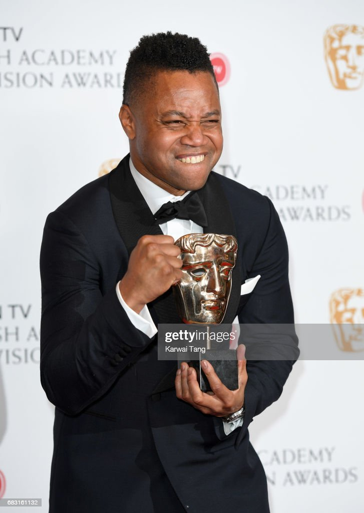 Cuba Gooding Jr, accepting the International award for 'The People Vs. OJ Simpson', in the Winner's room at the Virgin TV BAFTA Television Awards at The Royal Festival Hall on May 14, 2017 in London, England.