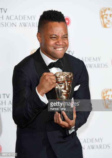 Cuba Gooding Jr accepting the International award for 'The People Vs OJ Simpson' in the Winner's room at the Virgin TV BAFTA Television Awards at The...