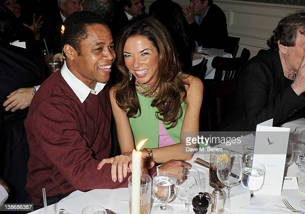 Cuba Gooding Jr and Heather Kerzner attend the Grey Goose hosted Harvey Weinstein PreBAFTA Dinner at Dean Street Townhouse on February 10 2012 in...