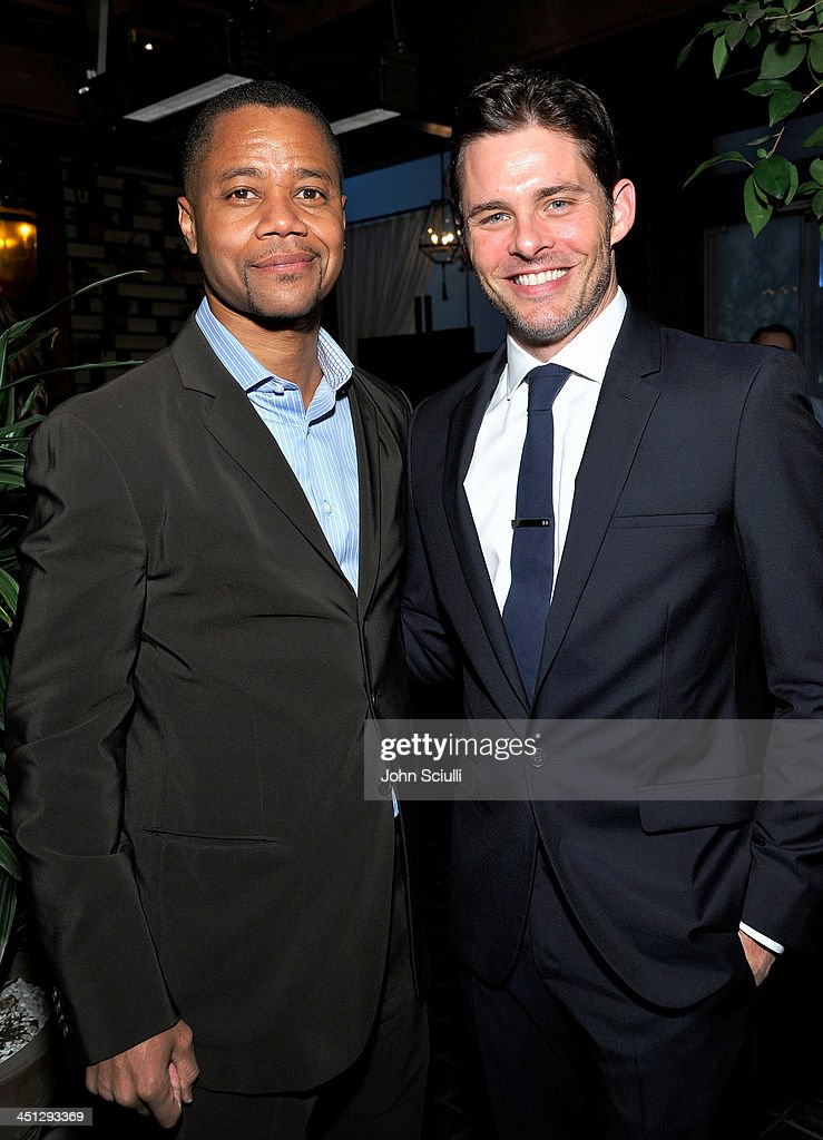 <a gi-track='captionPersonalityLinkClicked' href=/galleries/search?phrase=Cuba+Gooding+Jr.&family=editorial&specificpeople=208232 ng-click='$event.stopPropagation()'>Cuba Gooding Jr.</a> and <a gi-track='captionPersonalityLinkClicked' href=/galleries/search?phrase=James+Marsden&family=editorial&specificpeople=206902 ng-click='$event.stopPropagation()'>James Marsden</a> attends the Weinstein Company's holiday party at RivaBella on November 21, 2013 in West Hollywood, California.