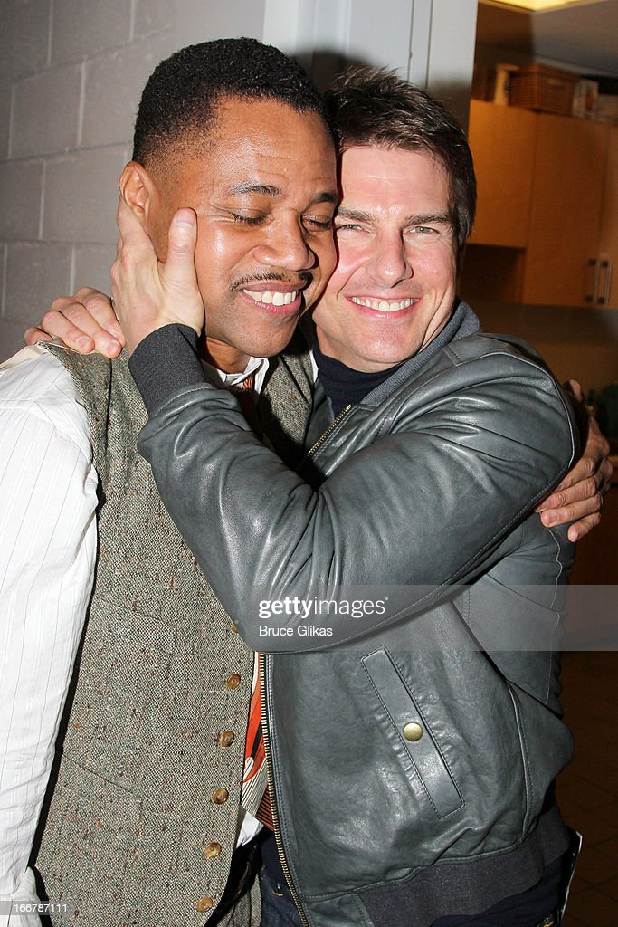 Cuba Gooding Jr and <a gi-track='captionPersonalityLinkClicked' href=/galleries/search?phrase=Tom+Cruise&family=editorial&specificpeople=156405 ng-click='$event.stopPropagation()'>Tom Cruise</a> pose backstage at the play 'The Trip to Bountiful' on Broadway at The Stephen Sondheim Theater on April 16, 2013 in New York City.