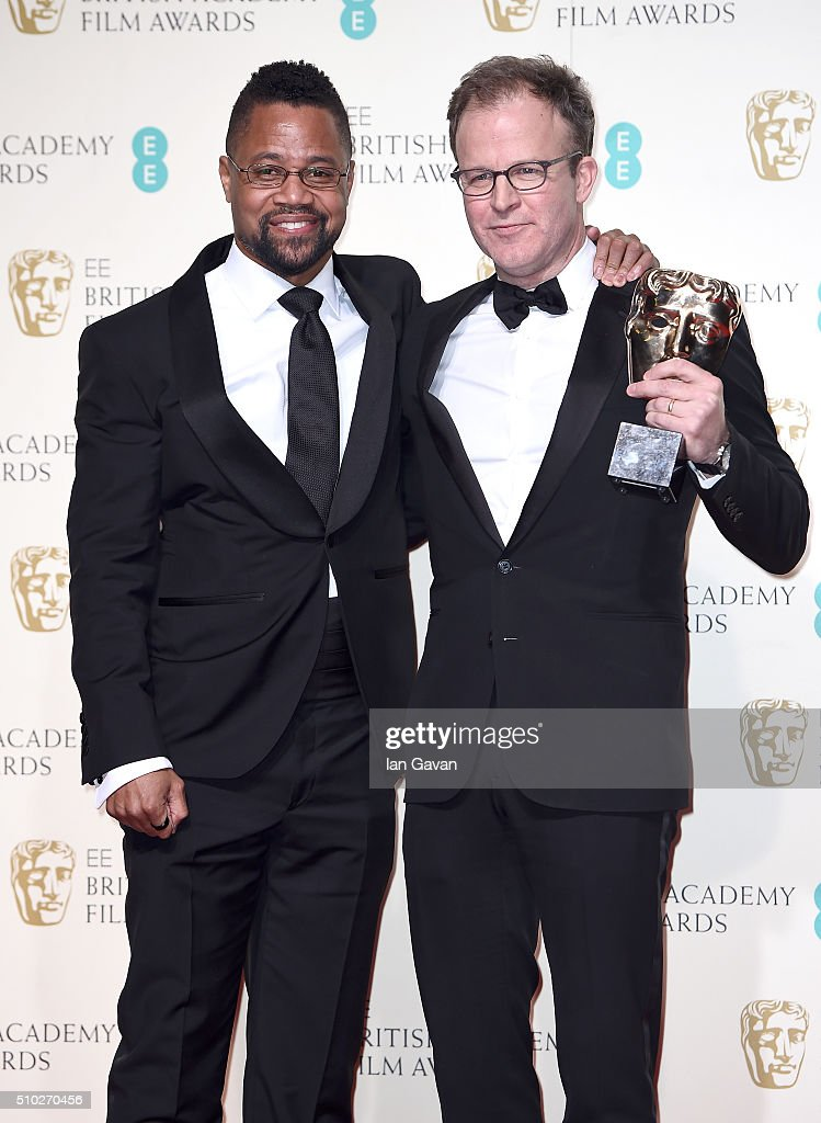 Cuba Gooding Jr and Tom McCarthy winner of Best Original Screenplay for 'Spotlight' poses in the winners room at the EE British Academy Film Awards at the Royal Opera House on February 14, 2016 in London, England.