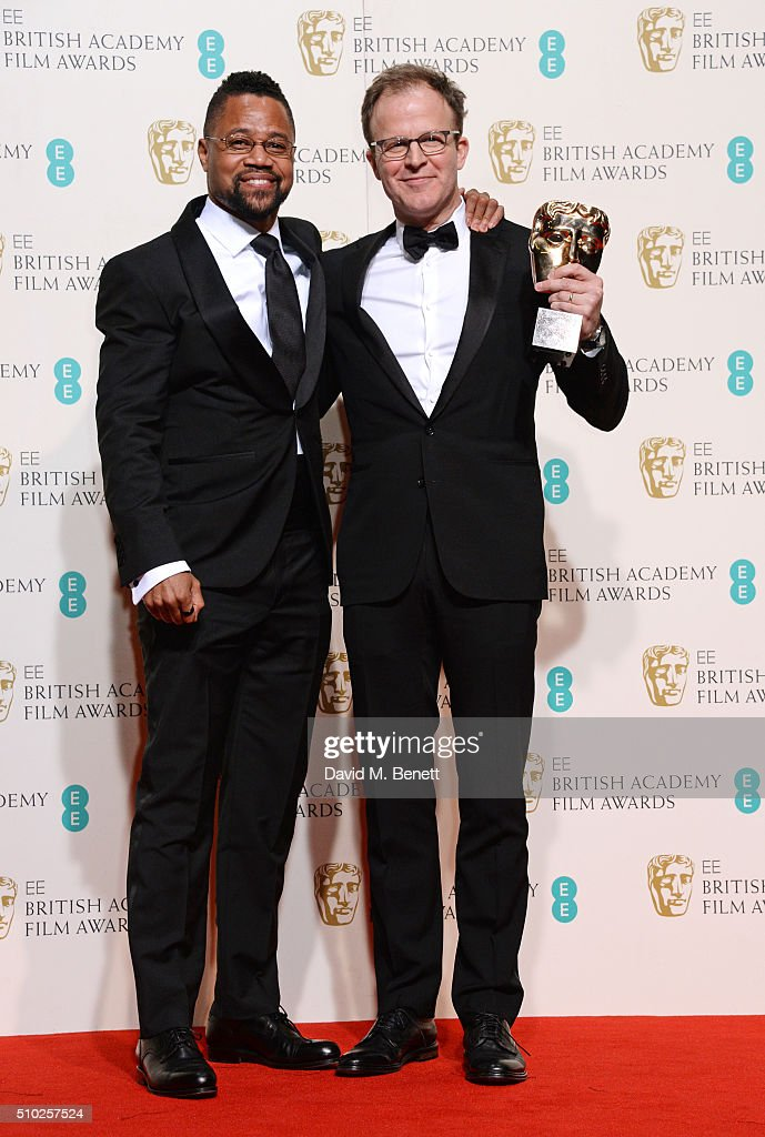 Cuba Gooding Jr (L) and Tom McCarthy, winner of the Original Screenplay award for 'Spotlight', pose in the winners room at the EE British Academy Film Awards at The Royal Opera House on February 14, 2016 in London, England.