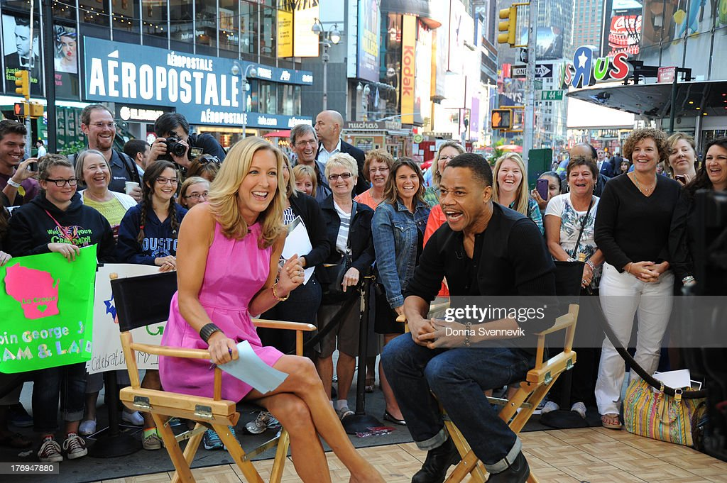 AMERICA - Cuba Gooding, Jr. has some fun with Lara Spencer on GOOD MORNING AMERICA, 9/14/13, airing on the ABC Television Network. LARA