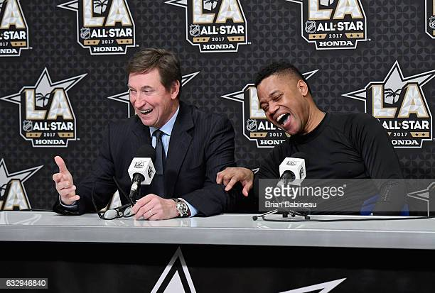 Cuba Gooding Jr right and Wayne Gretzky speak with the media after the 2017 NHL AllStar Celebrity Shootout as part of the NHL AllStar Weekend at...