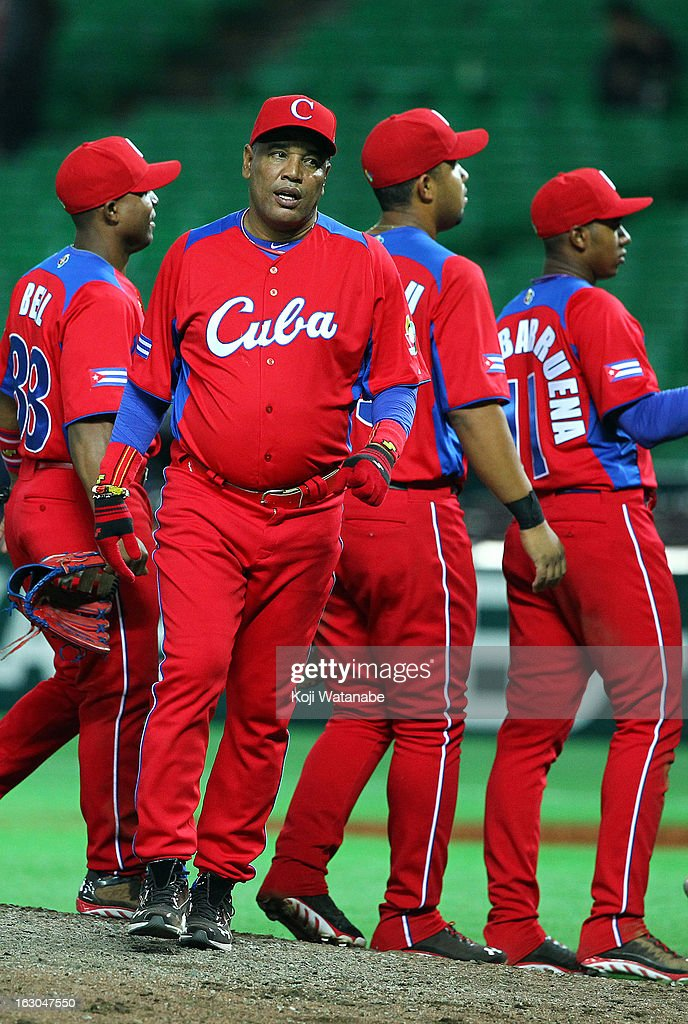 Cuba Head Coach Victor Mesa celebrates winning the World Baseball Classic First Round Group A game between Brazil and Cuba at Fukuoka Yahoo! Japan Dome on March 3, 2013 in Fukuoka, Japan.