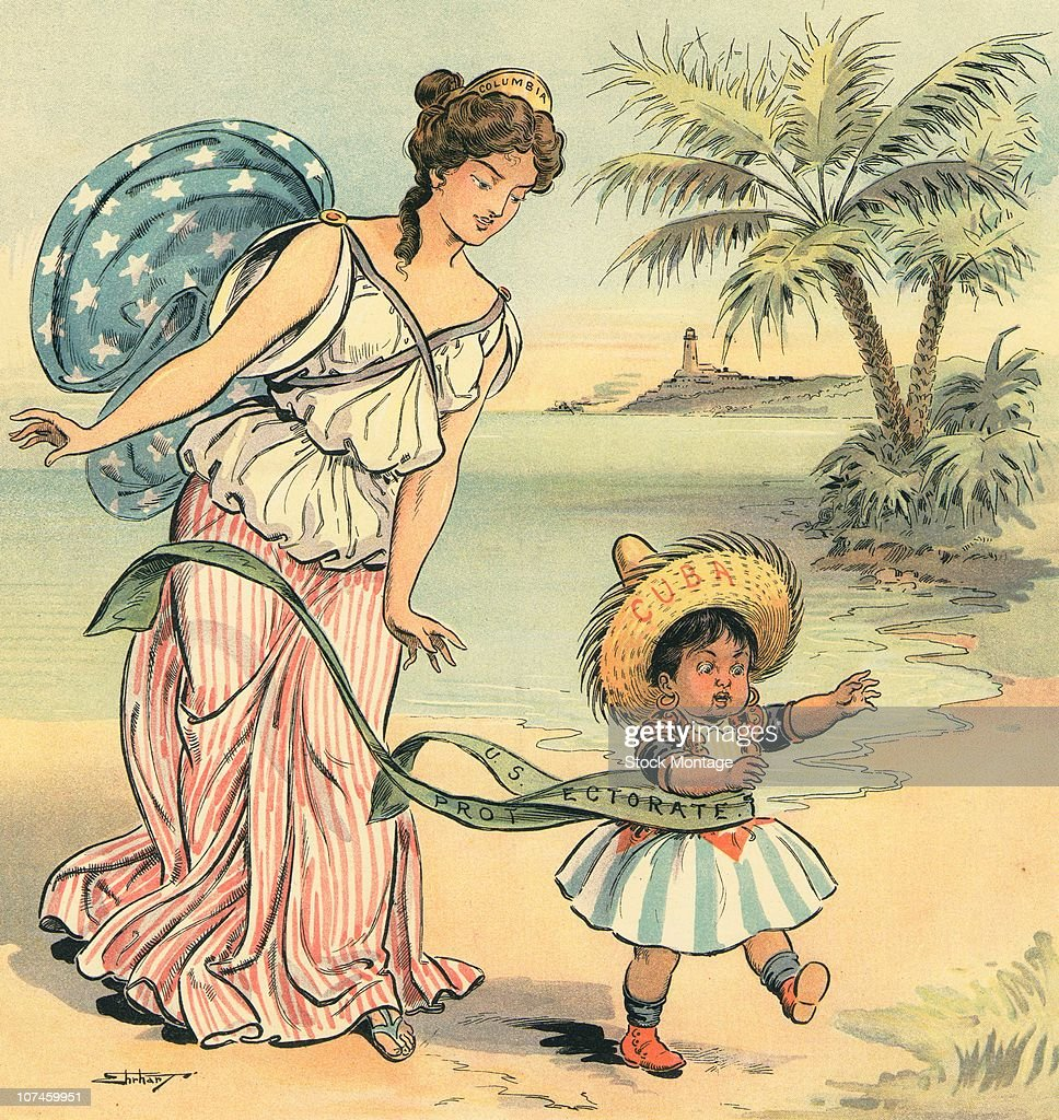 Cuba is declared independent in 1902 A woman 'Columbia' drops a ribbon labeled 'US Protectorate' that is wrapped around the waist of a small child...