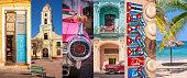 Cuba, panoramic photo collage, Cuban symbols, Cuba travel and tourism concept