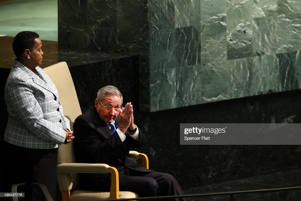 Cuba President Raul Castro sits after speaking at the United Nations General Assembly at U.N. headquarters on September 28, 2015 in New York City. Castro last visited the United States more than a half century ago. The ongoing war in Syria and the refugee crisis it has spawned are playing a backdrop to this years 70th annual General Assembly meeting of global leaders.