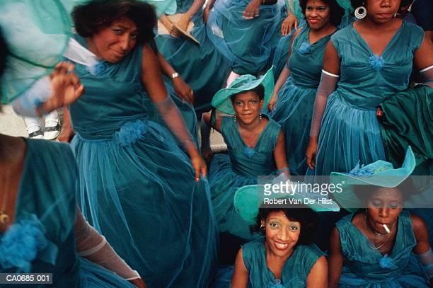 Cuba, Santiago de Cuba, women in carnival costumes