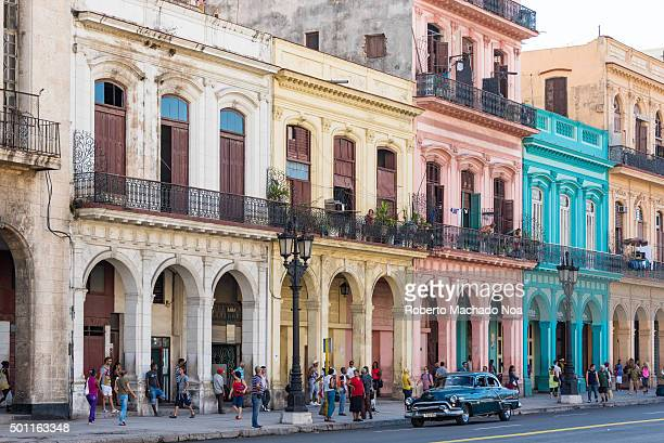 Cuba tours and attractions Colorful colonial architecture with arches and balconies at Central Park in Havana Cuba Parque Central or Central Park is...