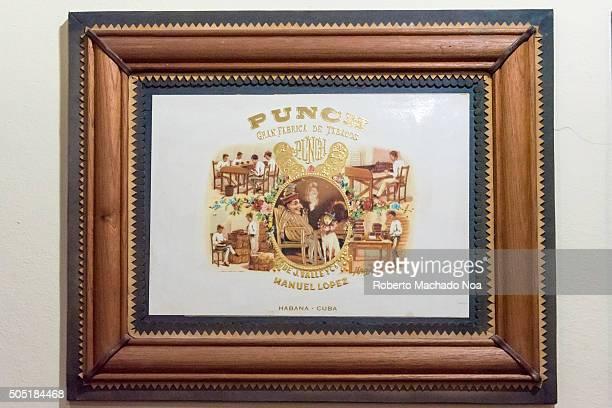 Cuba vintage articles Cigar box decorations preserved in a wooden frame inside the Havana house in Santa Clara Cuba