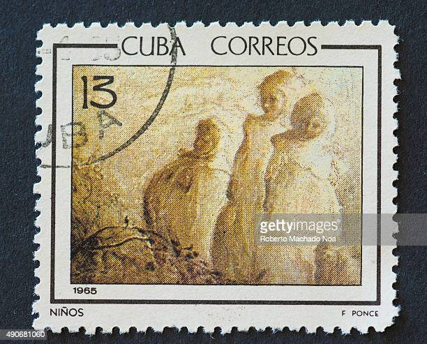 Cuban 1965 stamp depicting the painting of Children by Fidelio Ponce Fidelio Ponce was a Cuban painter